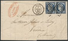 France 1851 - Cérès 25c blue letter from Paris for Verdun - Yvert n° 4 pair