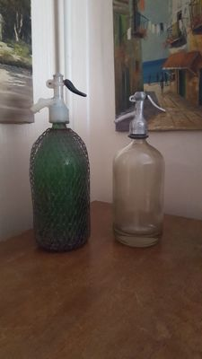 Set of Thick Glass Siphons / Soda Bottles