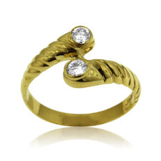 18K gold 0.24ct Diamond 'Toi et Moi' Ring, Ring size: 52-16 1/2-M (UK)