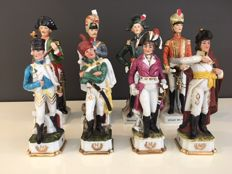 Series of eight figurines of Napoleon Bonaparte and his officers, porcelain, France