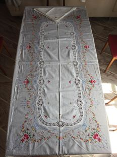 Antique tablecloth and 12 napkins - hand embroidered with cross stitch