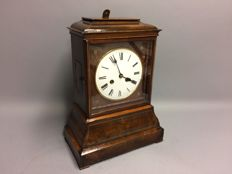 English mahogany wooden table clock with striking mechanism and double fusee movement, period 1870