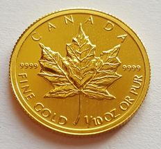 "Canada - 5 Dollars 2010 ""Maple Leaf"" in capsule - 1/10 oz of gold"