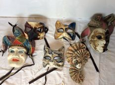 Six Venetian Masks - Second Half 20th Century, Italy