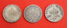 France - 50 Centimes 1865-A, 1867-A & 1894-A (lot of 3 coins) - Silver