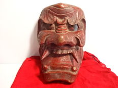 Wooden noh mask - Oni - Signed 'Takase' - Japan - Mid 20th century