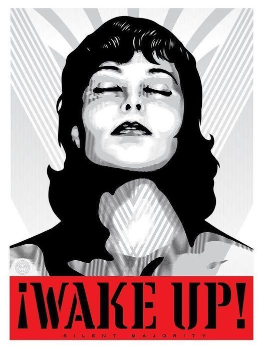 Shepard Fairey (OBEY) - Wake up (white)