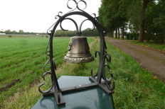 Bronze Monastery Bell made of Cast Iron with Wrought Iron Ornaments - France - Early 20th century