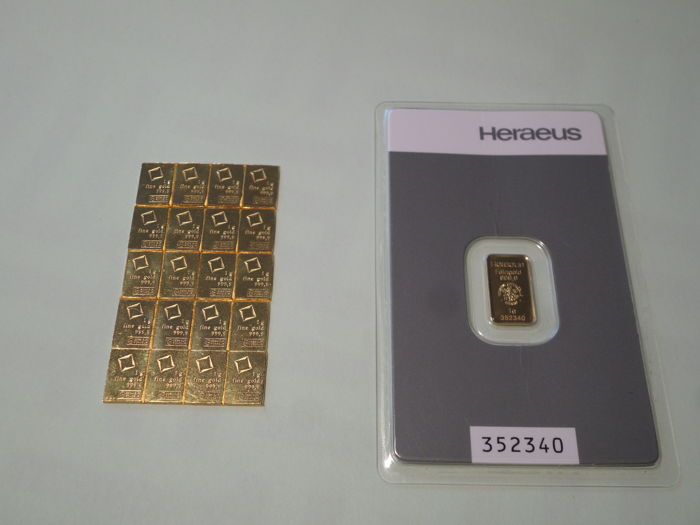 20 gr Valcombi suise 999,9 fine gold and 1 gr Heraeus 999,9 fine gold