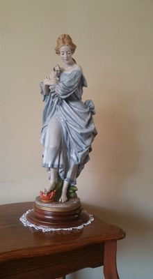 Benacchio - Porcelain statue of woman with Sheep - Signed