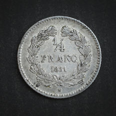 France - ¼ Franc 1831 W (Lille) - Louis Philippe I - Silver