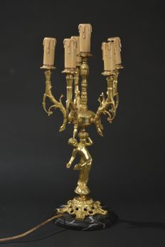 Beautiful antique bronze table lamp