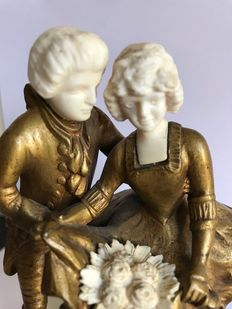 F. Preiss (1882-1945) - a gilt bronze wedding couple with ivory faces and bouquet - Germany - early 20th century