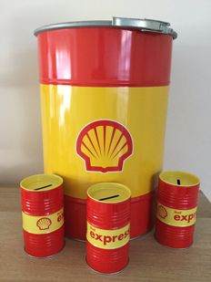 Shell - Oil barrel and 3 money boxes - Unique