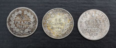 France - 50 Centimes 1841-A, 1867-A & 1894-A (lot of 3 coins) - Silver