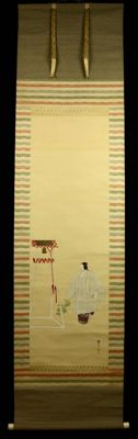 Beautiful scroll painting of a Noh dancer - signed 'Kanzan' 貫 山 - Japan - approx. 1920