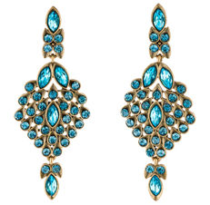 Oscar de la Renta - Signed  Designer  Aqua Blue Crystal Earrings - NO RESERVE !!!