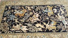 Beautiful fine Persian Hunting scene Ghoum (Qum) carpet 350000 knots per sq. Meter, soft wool and silk with atractive natural colors, 262 cm x 162 cm.