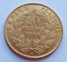 France – 10 francs 1868 A (Paris) – Napoléon III – gold