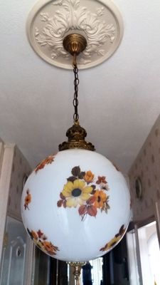 very large opaline ball lamp with a hand painted floral motif + copper finish