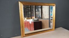 Mirror with facet - antique gold - wide wooden frame