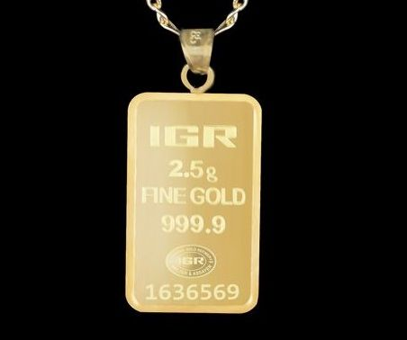 14 K Gold Chain + 2.5g  24Ct  Fine Gold Bullion Bar  Pendant 60 cm