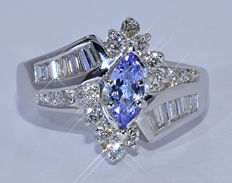 Tanzanite with Diamonds, marquise ring - NO reserve price!