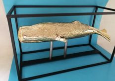 Whale in gold-plated copper with steel frame