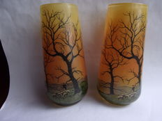 JEM - Pair of single flower vases with pastoral decor