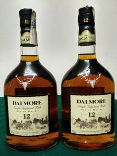 2 bottles - Dalmore 12 years old from 90's. Single Highland Malt