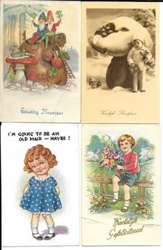 Netherlands/Belgium, 300 x congratulatory cards, children's cards nostalgic cards, happy new year and Christmas cards and Easter cards