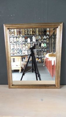 Mirror with facet - silver/bronze-coloured - wide wooden frame