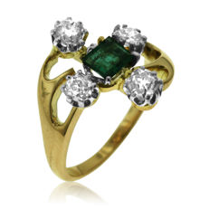 18k Gold Diamond and Emerald Fantasy Ring, as new. Size 46