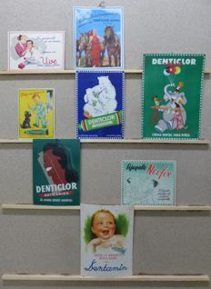 8 advertising display - Denticlor, Uve, Neofix, Dentamin - c. 1950-1960