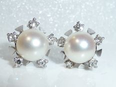 Earrings, 14 kt / 585 white gold stud earrings with 8 mm Akoya pearl and diamond wreath approx. 0.25 ct.