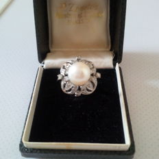 Vintage 1950's 14 k platinum ring with pearl and Rushian cut diamonds