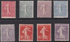 France 1903/06 - Selection of Sower types including 35 c light purple type IIA - Yvert no. 129 - 136