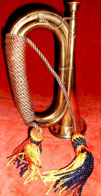 Hunting horn/bugle with mouthpiece and decorative cord, around 1980, Germany