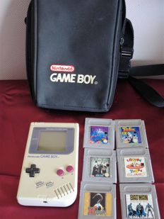 Nintendo Gameboy - 1989 - with 6 games - with bag
