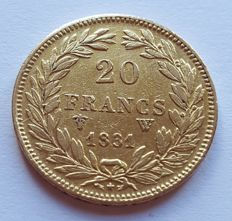 France - 20 francs 1831 W (Lille) - Louis Philippe - gold