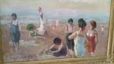 H. Stierle (German School 1879) - Impressionist beach scene with many women in bathing suit dated 1923