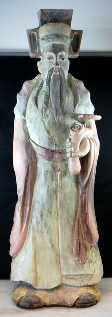 Large, solid wooden statue depicting a sage - China - second half 20th century (130 cm)