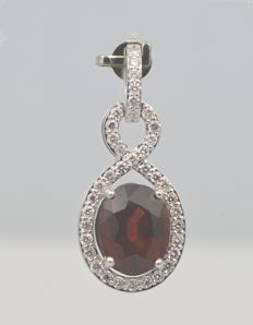 14k White Gold Red Garnet 6.06ct & Diamond 0.75ct  Pendant , Size L 25mm x W 14mm. Total Weight 4.43grms