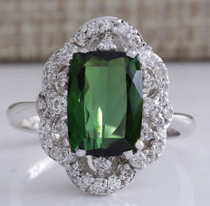 3.51 Carat Tourmaline And Diamond Ring In 14K Solid White Gold - Ring Size: 7 *** Free Shipping *** No Reserve *** Free Resizing