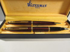 Rare and elegant Waterman Set vintage red garnet-coloured fountain pen and ballpoint pen In perfect condition