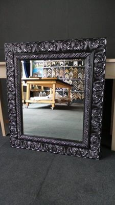 Large mirror with facet - black / silver - wide ornamental frame with French lily pattern