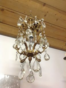 Bronze and crystal chandelier - 1960 - Italy