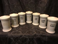 7 Porcelain Pharmacists pots - early last century.