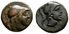 Greek Antiquity – lot of 2 coins AE ---1º  Pontos Amisos Ares Sword Helm Schwert 200 BC / 2º  Pontos. Amisos. Time of Mithradates VI Eupator 85-65 BC.
