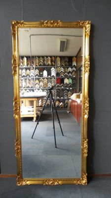 Mega large Venetian mirror with facet - Hand gilded - gold - 82 x 182 cm
